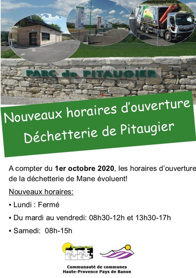 Nouveaux horaires d'ouverture de la déchetterie Mane: octobre 2020