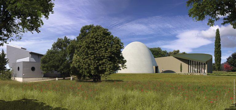 Lundi 28 septembre 2020:   Pose de la première pierre du planétarium à St Michel l'Observatoire