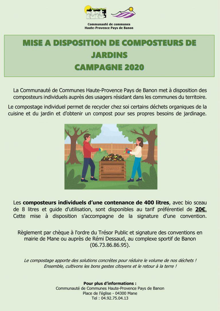Mise à disposition de composteurs individuels – Campagne 2020